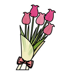 Drawing bouquet flower natural present ornament vector