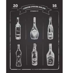 Drinks menu on chalkboard in hand drawn style vector image