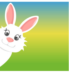 easter bunny peers out happy easter vector image