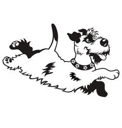 happy dog black white vector image vector image