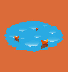 three paper boat in the water with clouds vector image vector image