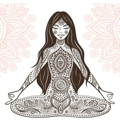 Vintage with yoga girl vector image vector image