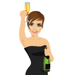 woman toasting with bottle of champagne vector image