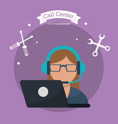 call center woman laptop headset vector image vector image