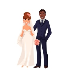 Caucasian bride and African groom just married vector image vector image