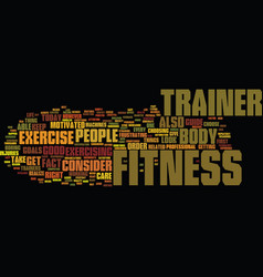 fitness trainer text background word cloud concept vector image