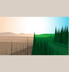 forest landscape before and after fire vector image