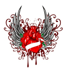 heart wings and rose vector image vector image