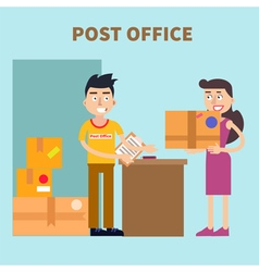 Post office woman sending parcel postal service vector
