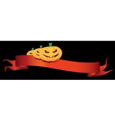 ribbon with halloween pumpkins vector image vector image