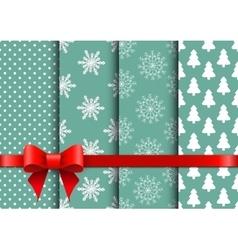 Set christmas seamless backgrounds vector image