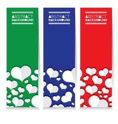 Set Of Three Colorful White Hearts Vertical Banner vector image