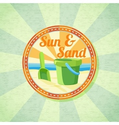 Sun sand spade and bucket on the summer shore vector image