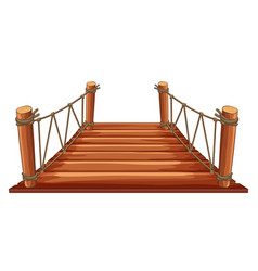 wooden bridge with rope attached vector image vector image