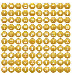 100 furnishing icons set gold vector