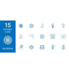 15 blossom icons vector image
