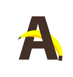 A banana font template design vector