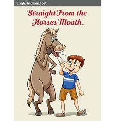 A boy and a horse vector
