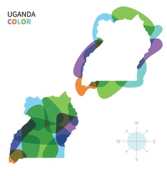 Abstract color map of Uganda vector