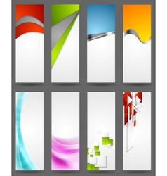 Abstract tech metallic and wavy vertical banners vector image