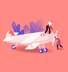 Aircraft modeling concept tiny male and female vector