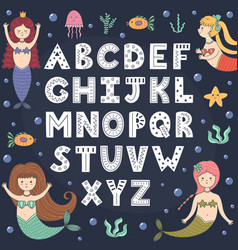Alphabet poster with cute mermaids wall art vector