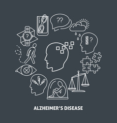 Alzheimer s symptoms round concept poster in line vector