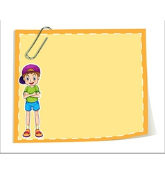 An empty paper template with a smiling young boy vector image
