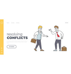 Angry businessmen characters quarrel landing page vector