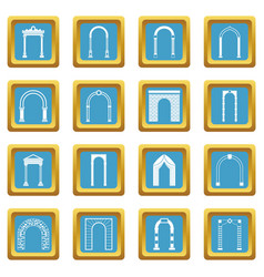 arch set icons azure vector image