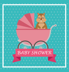 Baby shower card with cute chipmunk in cart vector