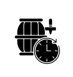 Barrel aged beer black glyph icon vector