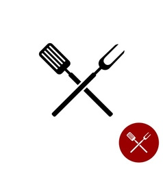 Bbq barbecue tools crossed black simple silhouette vector