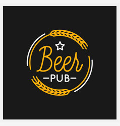 beer pub logo round linear logo beer on black vector image
