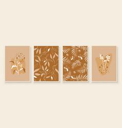 Beige abstract botanical organic art vector