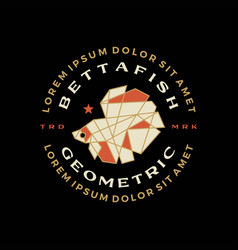 Betta fish geometric badge t shirt tee merch logo vector