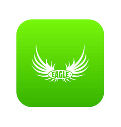 bird wing icon green vector image
