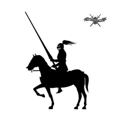black silhouette knight on white background vector image