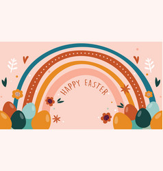 Boho easter concept design bunnies eggs flowers vector