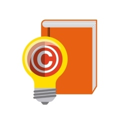 Book and bulb icon Copyright design vector