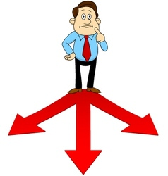Businesspeople standing on the red arrow vector image