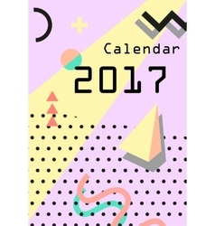Calendar 2017 Retro vintage 80s or 90s fashion vector
