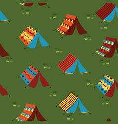 Camping tents seamless pattern background vector