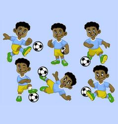 cartoon black kid soccer player set vector image