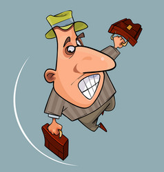 Cartoon funny emotional man in hat jumps vector