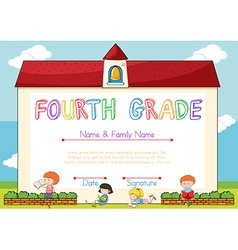 Certificate with background of children and school vector