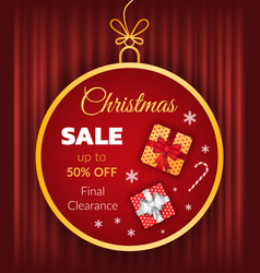 christmas sale 50 percent off price promo banner vector image