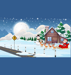 christmas scene with santa and reindeers vector image