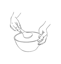 Cooking hand with serving spoon and bowl vector