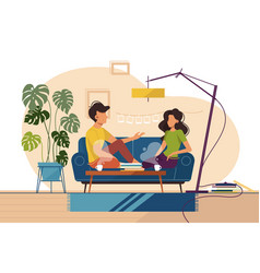 Couple of guy and girl sitting on couch at home vector
